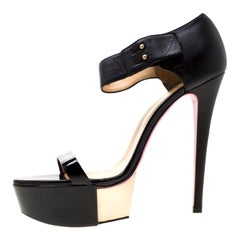 Versace Black Patent Leather And Leather Ankle Strap Platform Sandals Size 40