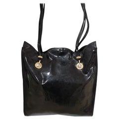 Versace black patent leather shoulder bag