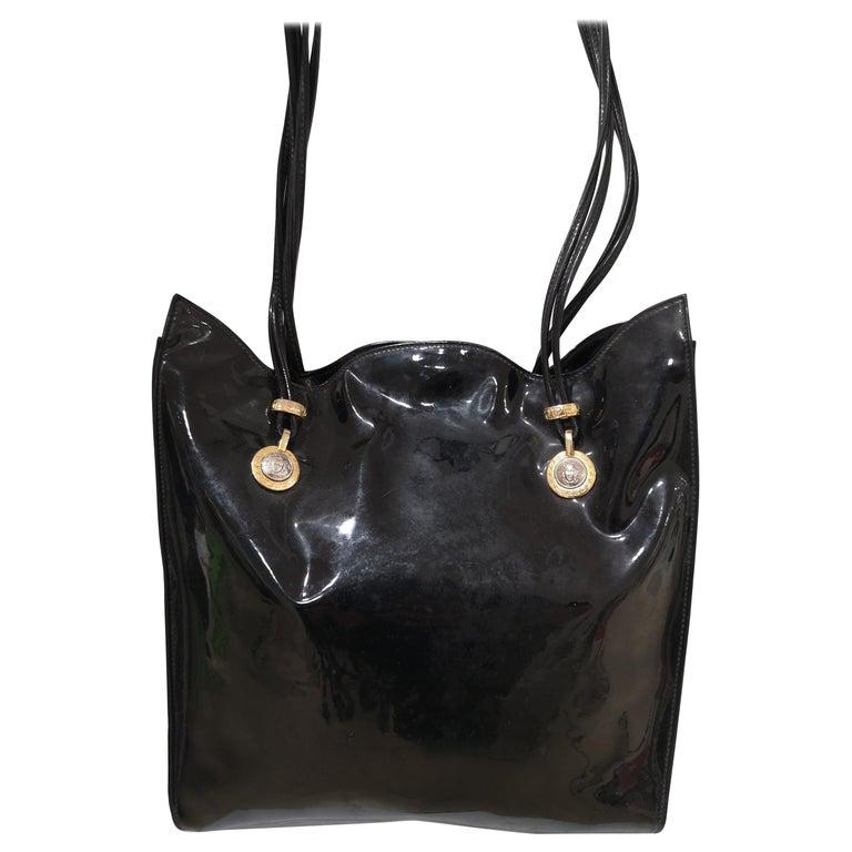 Versace black patent leather shoulder bag For Sale