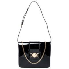 Versace Black Patent Leather Young Medusa Chain Shoulder Bag