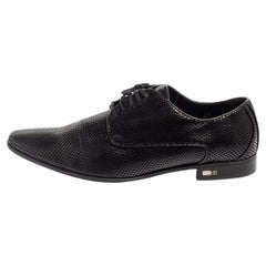 Versace Black Perforated Leather Derby Size 45