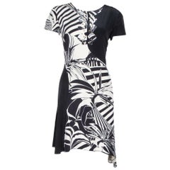 Versace Black Printed Silk Asymmetric Knee Length Dress M