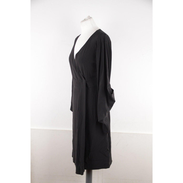 Women's VERSACE Black Pure Silk WRAP DRESS w/ Blouson Sleeves SIZE 40 For Sale