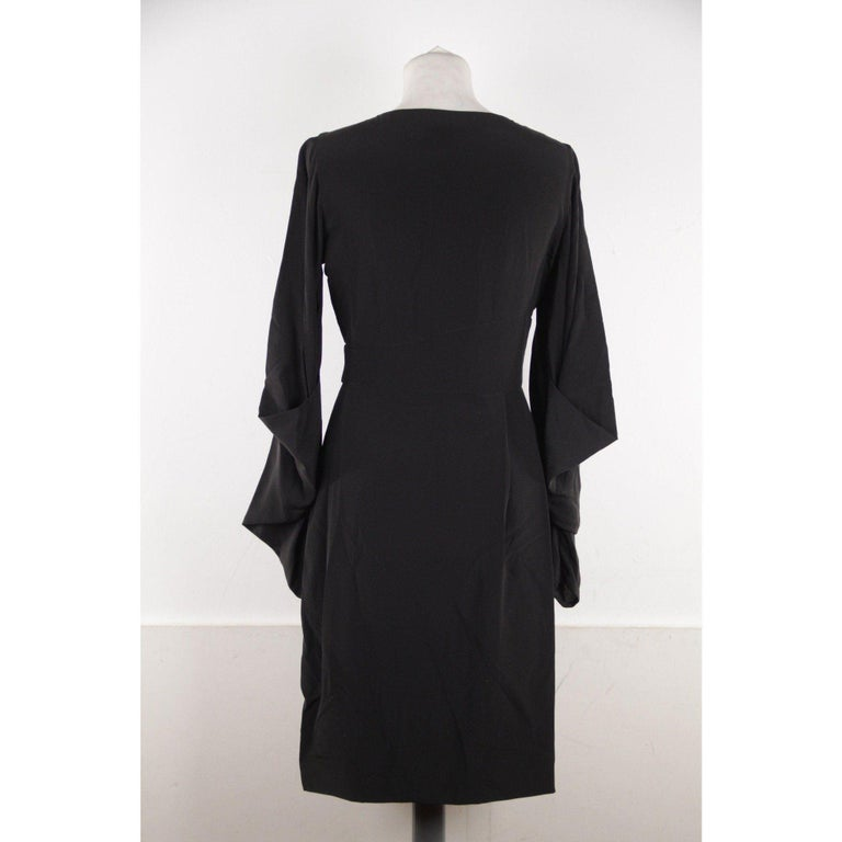 VERSACE Black Pure Silk WRAP DRESS w/ Blouson Sleeves SIZE 40 For Sale 1