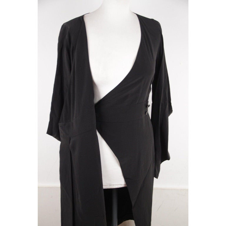 VERSACE Black Pure Silk WRAP DRESS w/ Blouson Sleeves SIZE 40 For Sale 2