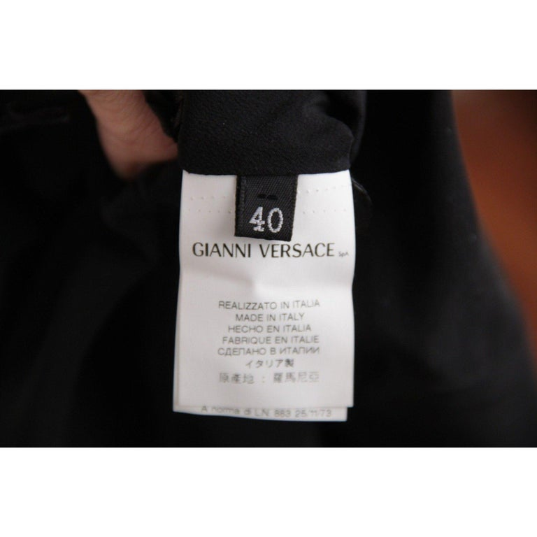 VERSACE Black Pure Silk WRAP DRESS w/ Blouson Sleeves SIZE 40 For Sale 4