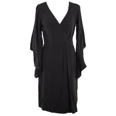 VERSACE Black Pure Silk WRAP DRESS w/ Blouson Sleeves SIZE 40