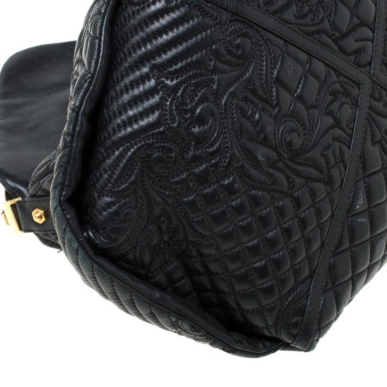 Versace Black Quilted Barocco Leather Top Handle Bag For Sale 6