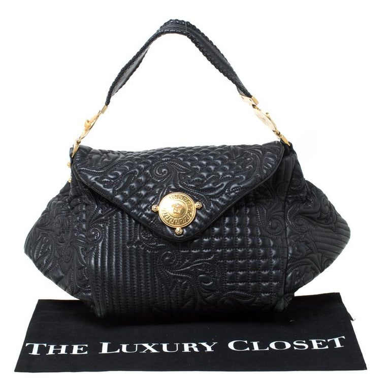 Versace Black Quilted Barocco Leather Top Handle Bag For Sale 7