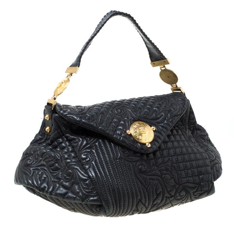 Women's Versace Black Quilted Barocco Leather Top Handle Bag For Sale