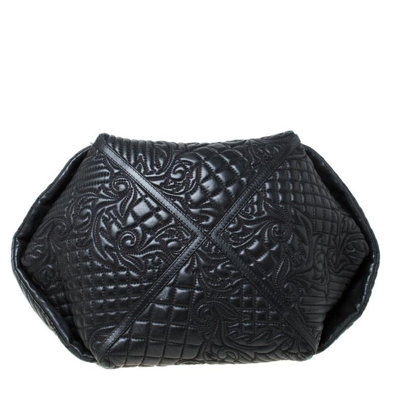 Versace Black Quilted Barocco Leather Top Handle Bag For Sale 1