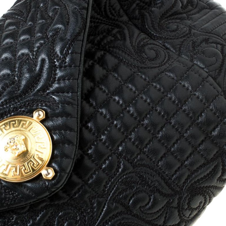 Versace Black Quilted Barocco Leather Top Handle Bag For Sale 4