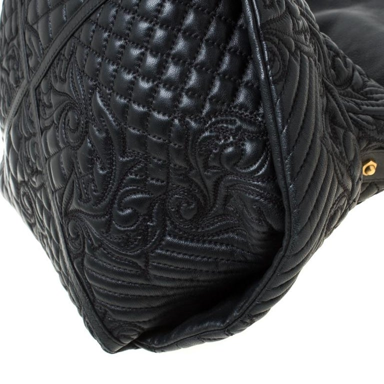 Versace Black Quilted Barocco Leather Top Handle Bag For Sale 5