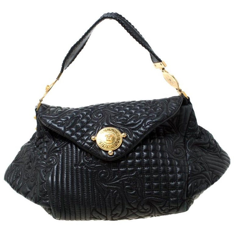 Versace Black Quilted Barocco Leather Top Handle Bag For Sale