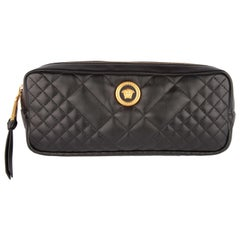 Versace Black Quilted Leather Icon Medusa Tribute Belt Bag
