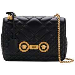 Versace Black Quilted Leather Icon Shoulder Bag with a Gold-Tone Chain