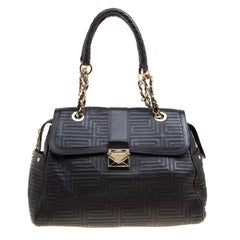 Versace Black Quilted Leather Satchel