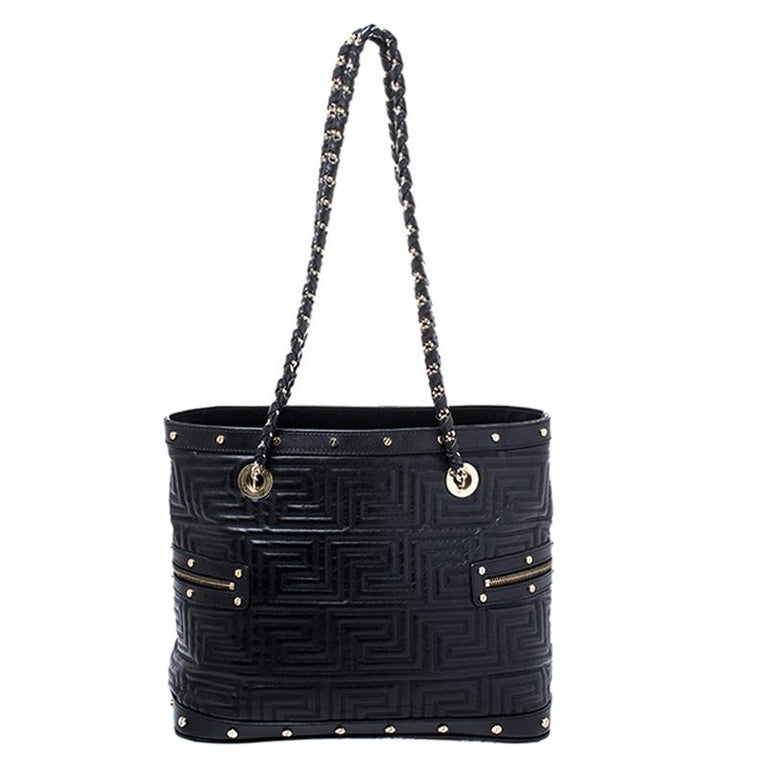 Versace Black Quilted Leather Sided Zip Tote For Sale 6