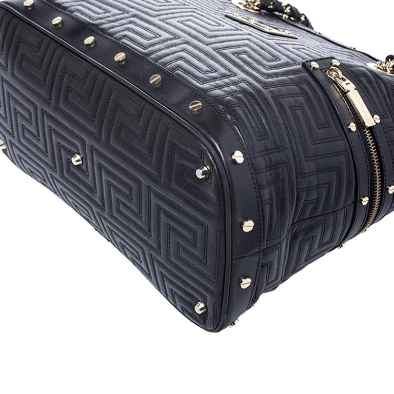 Versace Black Quilted Leather Sided Zip Tote For Sale 1