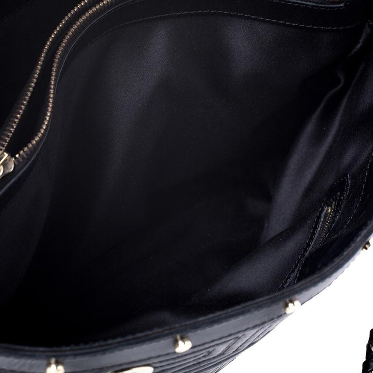 Versace Black Quilted Leather Sided Zip Tote For Sale 2