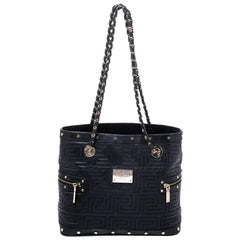Versace Black Quilted Leather Sided Zip Tote
