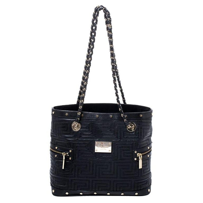 Versace Black Quilted Leather Sided Zip Tote For Sale