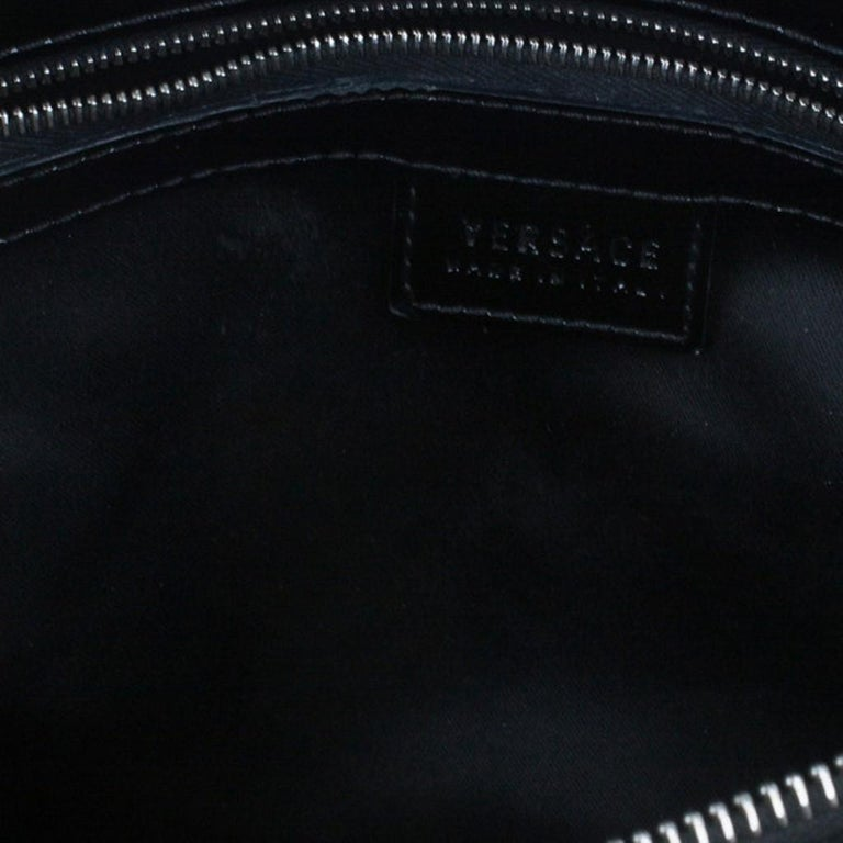 Versace Black Quilted Leather Snap Out Of It Satchel For Sale 7