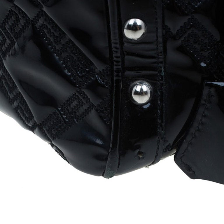 Versace Black Quilted Leather Snap Out Of It Satchel For Sale 8