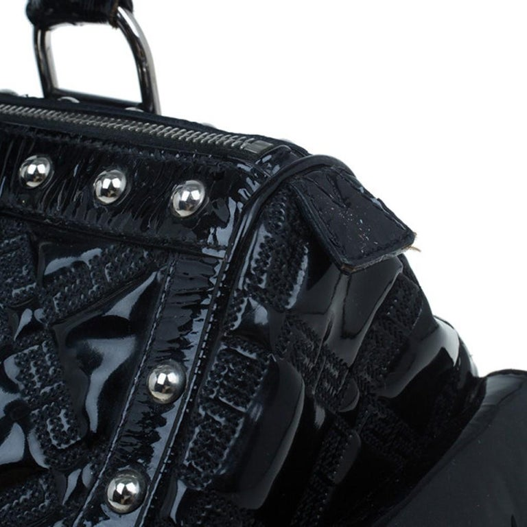 Versace Black Quilted Leather Snap Out Of It Satchel For Sale 9
