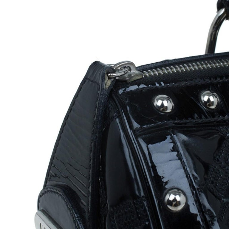 Versace Black Quilted Leather Snap Out Of It Satchel For Sale 10