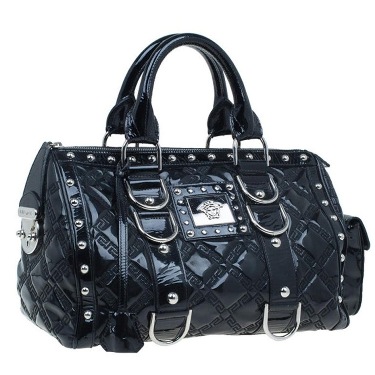 Women's Versace Black Quilted Leather Snap Out Of It Satchel For Sale
