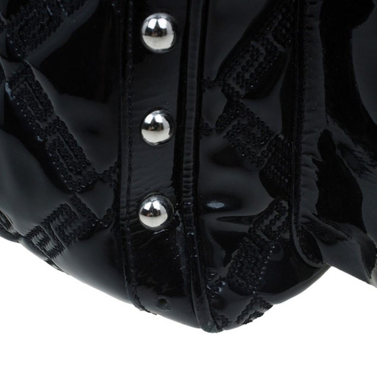 Versace Black Quilted Leather Snap Out Of It Satchel For Sale 2