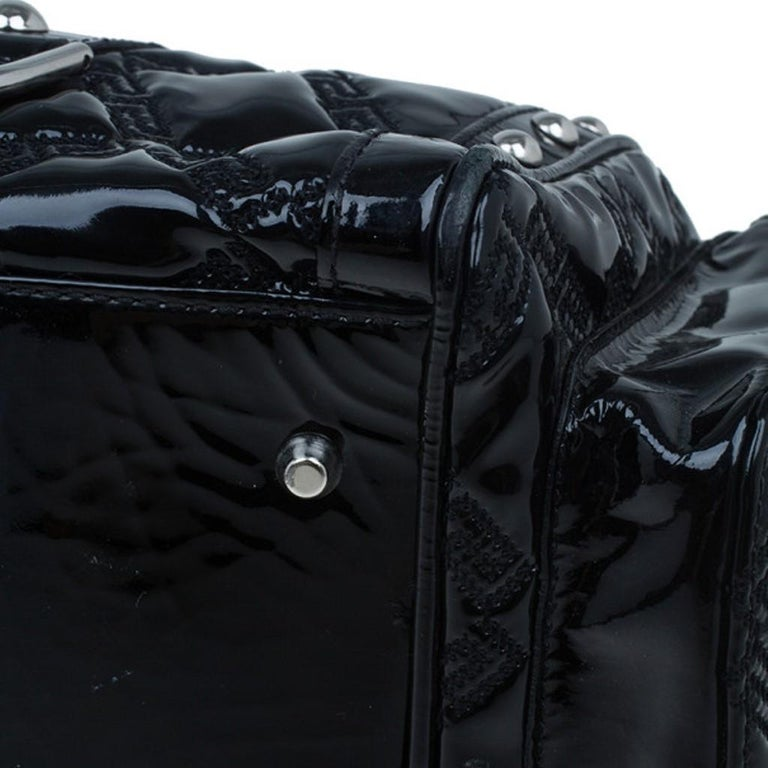 Versace Black Quilted Leather Snap Out Of It Satchel For Sale 3