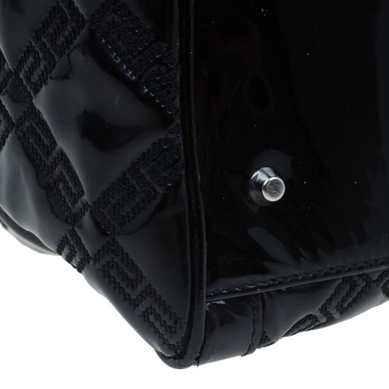 Versace Black Quilted Leather Snap Out Of It Satchel For Sale 4