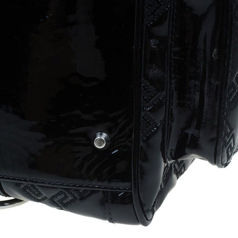 Versace Black Quilted Leather Snap Out Of It Satchel For Sale 5