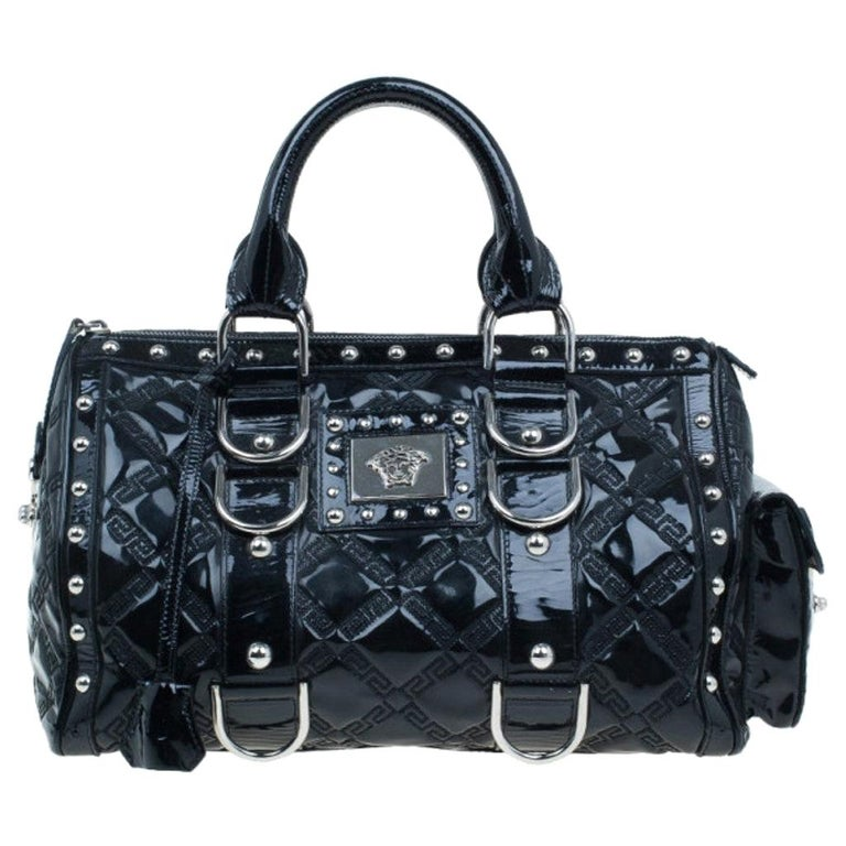 Versace Black Quilted Leather Snap Out Of It Satchel For Sale