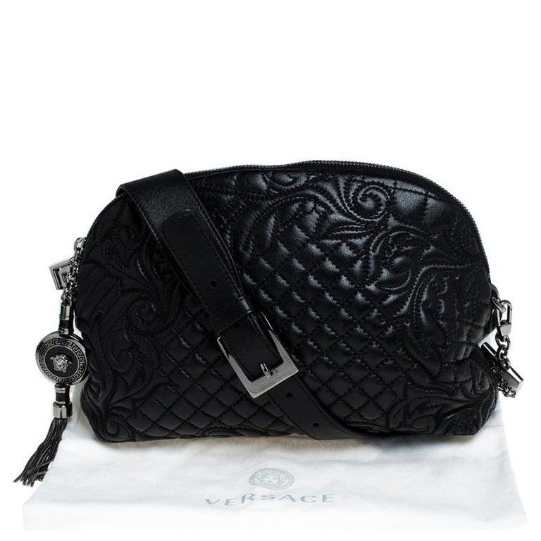 Versace Black Quilted Leather Vanitas Shoulder Bag For Sale 7