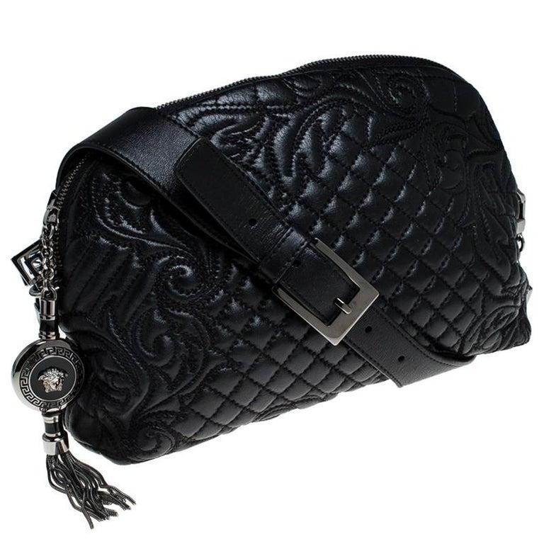 Women's Versace Black Quilted Leather Vanitas Shoulder Bag For Sale