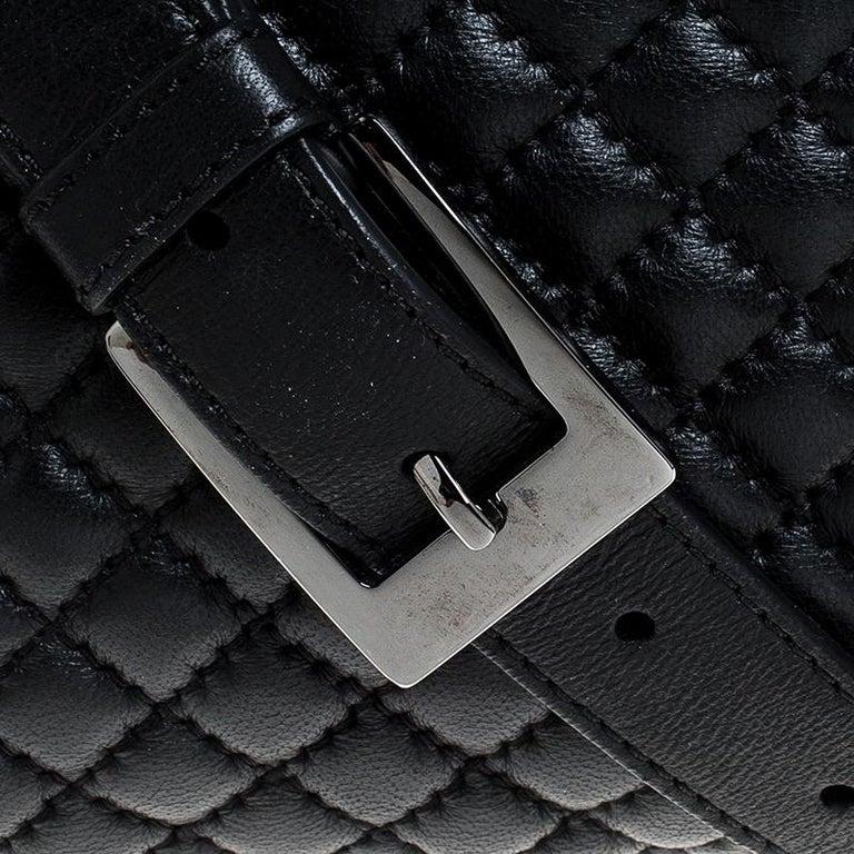 Versace Black Quilted Leather Vanitas Shoulder Bag For Sale 5