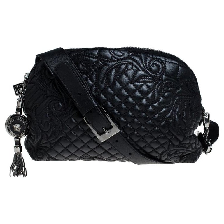 Versace Black Quilted Leather Vanitas Shoulder Bag For Sale