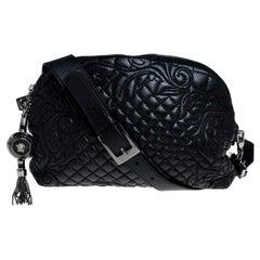 Versace Black Quilted Leather Vanitas Shoulder Bag