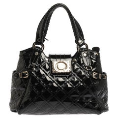 Versace Black Quilted Patent Leather Satchel