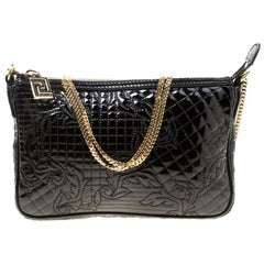 Versace Black Quilted Patent Leather Shoulder Bag