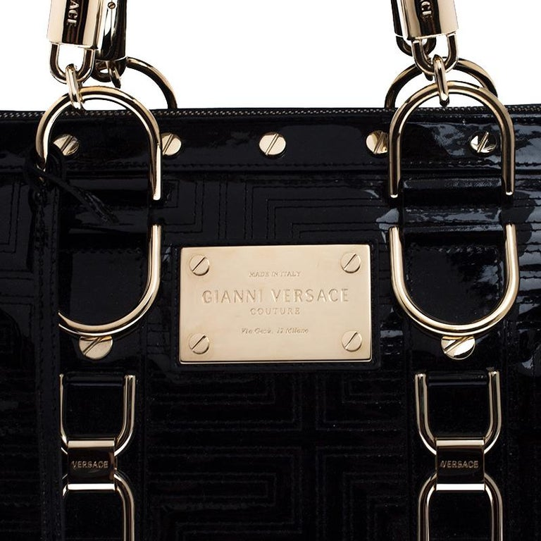 Versace Black Quilted Patent Leather Snap Out Of It Satchel For Sale 6