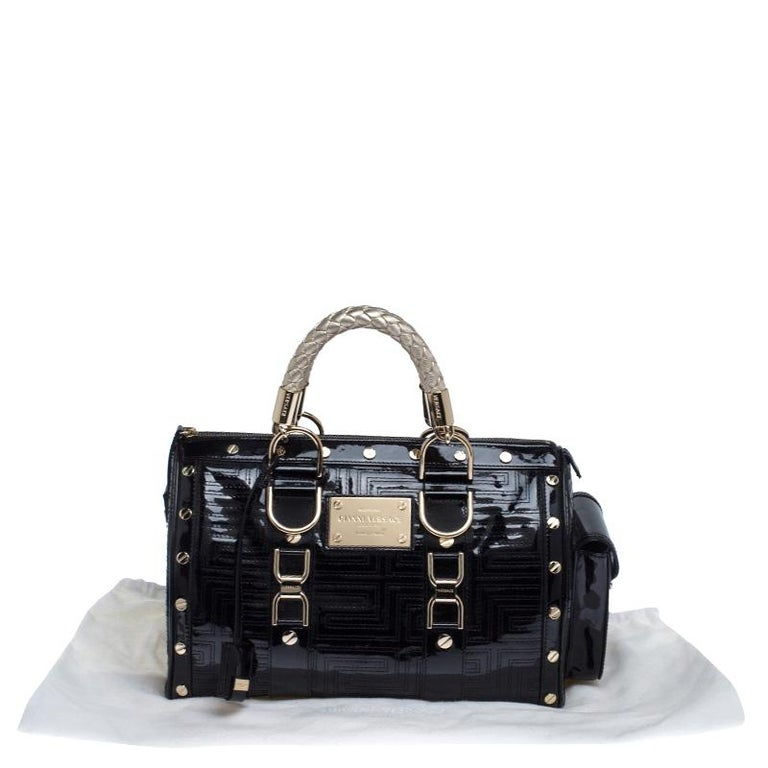 Versace Black Quilted Patent Leather Snap Out Of It Satchel For Sale 7