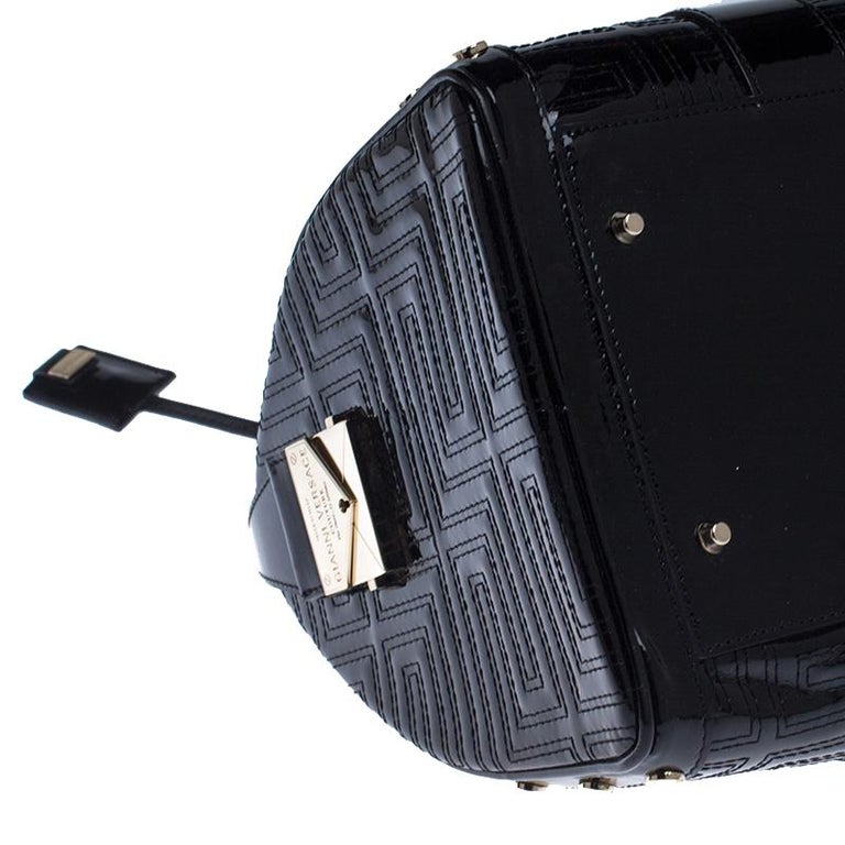Women's Versace Black Quilted Patent Leather Snap Out Of It Satchel For Sale