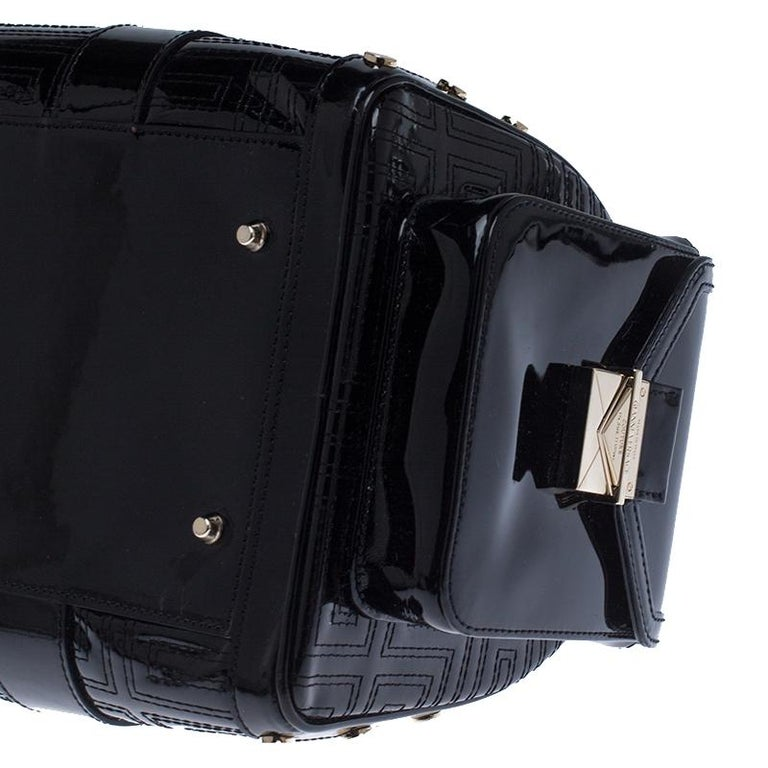 Versace Black Quilted Patent Leather Snap Out Of It Satchel For Sale 1
