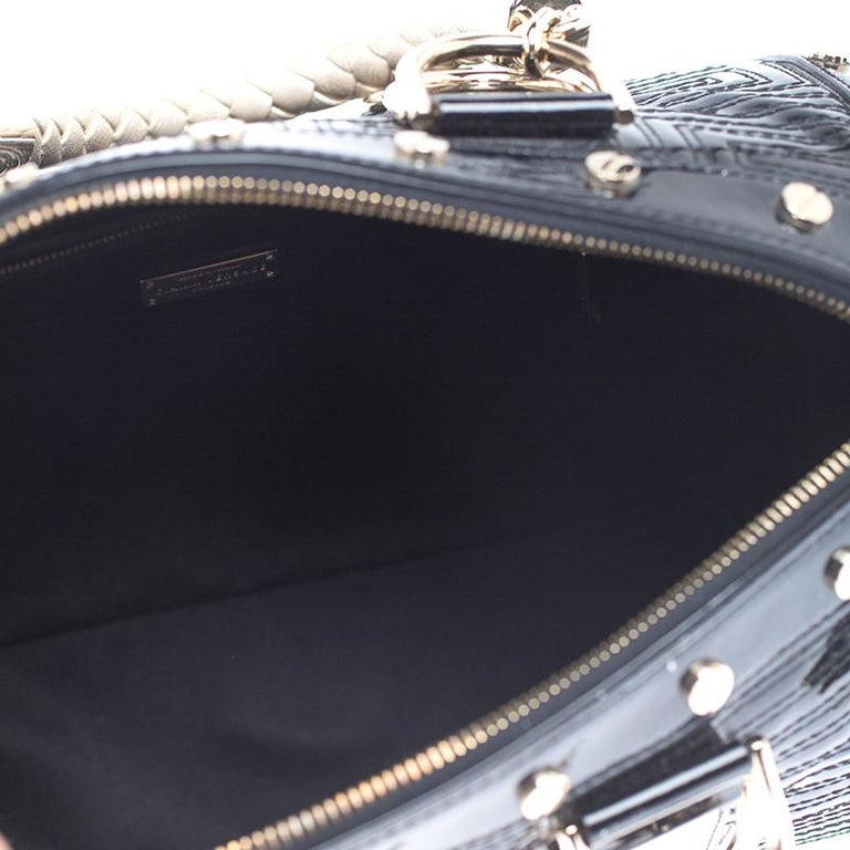 Versace Black Quilted Patent Leather Snap Out Of It Satchel For Sale 2