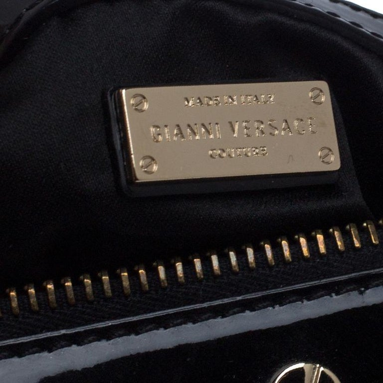Versace Black Quilted Patent Leather Snap Out Of It Satchel For Sale 3