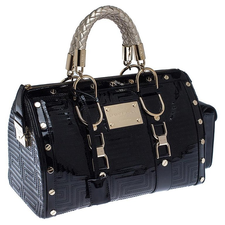 Versace Black Quilted Patent Leather Snap Out Of It Satchel For Sale 4